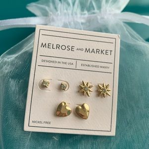 NWOT Melrose and Market Gold Tone Stud Earrings